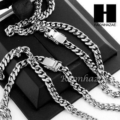 Stainless Steel White Gold Heavy 7mm Miami Cuban Link Chain Necklace Bracelet 2