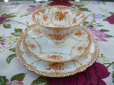 Antique Foley Wileman China Trio Tea Cup Gainsbourough Basket Of Flowers 9308