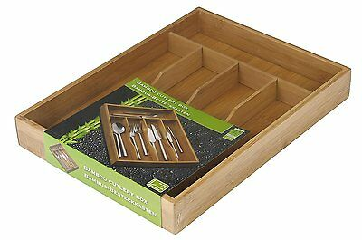 5 Compartment Bamboo Wooden Kitchen Cutlery Drawer Storage Box Tray Organiser