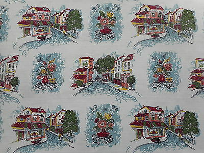 Lovely unused vintage 50's barkcloth fabric - 1.1M lengths, street scene/floral