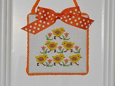 "Finished Cross Stitch ""Chicks"" Ornament or Hanger"