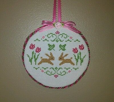 "Finished Cross Stitch ""Leaping Bunnies"" Ornament or Hanger"