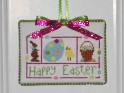 "Finished Cross Stitch ""Happy Easter"" Ornament or Hanger"