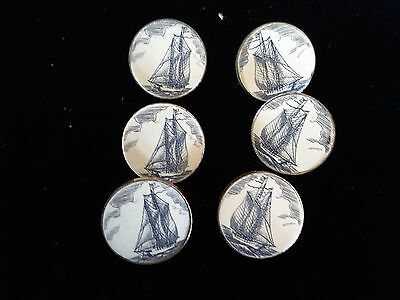 Set of 6 vintage scrimshaw style buttons - sailing whaling ships