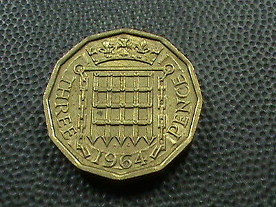 GREAT  BRITAIN    3  Pence    1964    ALMOST  UNCIRCULATED