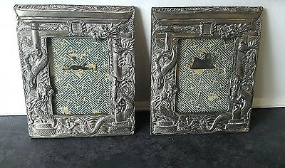 Pair of antique Silver Plated photograph frames with Chinese Dragon design
