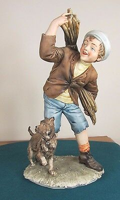 Signed Capodimonte Figure Of Boy With Hay And Dog - Perfect Condition