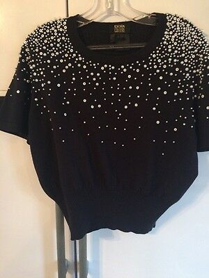 Vintage Escada Couture Navy Beaded Pure Wool Jumper Size 40