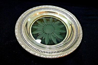 "Vintage Sterling Silver & Etched Crystal Candy Dish  ""frank M.whiting""  **1940**"