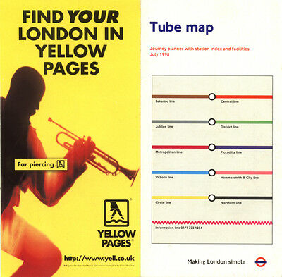 London Underground Tube Map / Guide 1998 July