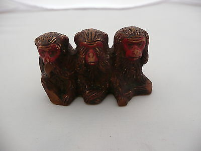 Vintage 3 Wise Monkeys Miniature Figure Made In Japan
