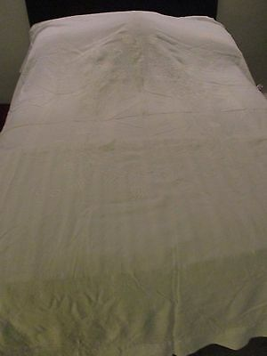 vintage white cotton bedspread/tablecloth large