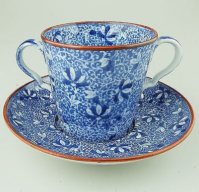 Antique English Pottery : A pearlware B&W Cup & Saucer C.1810
