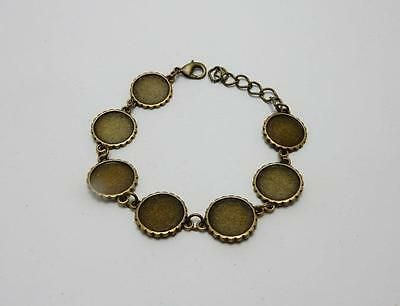 Bronze bracelet blank setting for 16 mm round cabochon or resin jewellery making