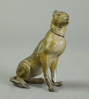 Antique Austrian Hand Painted White Metal Dog Figurine