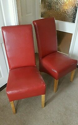 X2 Red Faux Leather Chairs