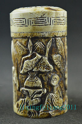 Chinese vintage cow b0ne handwork carve god and rabbit noble toothpick box
