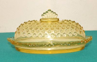Vintage LE Smith Yellow Hobnail Glass Butter Dish