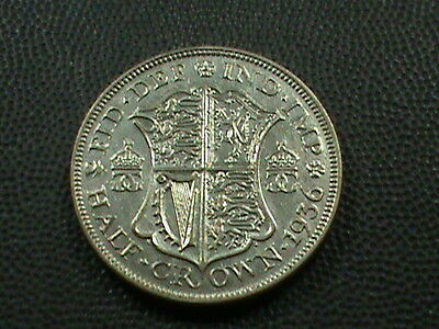 GREAT BRITAIN    1/2  Crown    1936    ALMOST  UNCIRCULATED  ,  SILVER