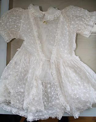 FREE SHIP: Antique Vintage Lace Christening/Baptism Gown Child- Moderate Wear