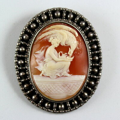 Vintage Sterling Silver Signed F W PERUZZI  Shell Cameo Of HEBE AND THE EAGLE