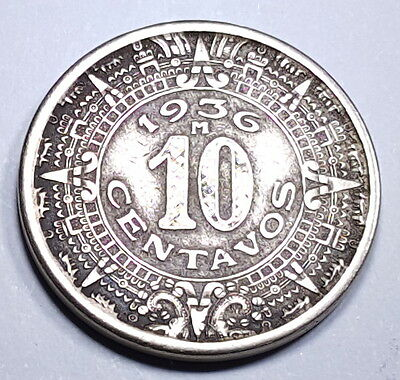 Mexico 1936 XF 10 Centavos Old Antique Mexican Currency Money Dime 10 Cent KM432