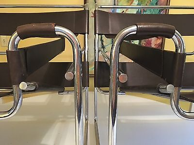 Two Vintage Mid Century Modern Breuer Wassily Chrome and Brown Leather Chairs