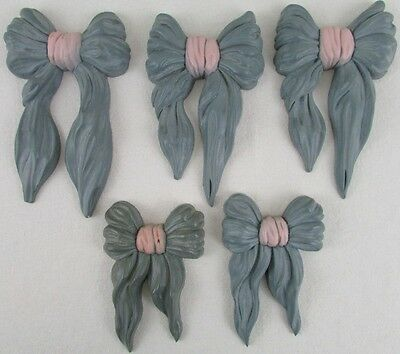 Vintage Homco Home Interior Blue Ribbons Bows Wall Hangings Plaques Lot Of 5