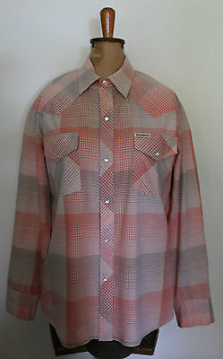 VINTAGE 1970'S ~ NEW BREED Rockabilly Western Pink Grey Plaid Check Shirt ~ L
