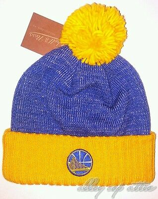 cf0271d5 Golden State Warriors Mitchell & Ness NBA Basic Heater Knit Pom Beanie Hat  Cap