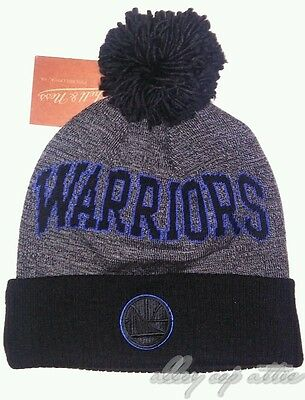 e4bfd9489c5 Golden State Warriors Mitchell   Ness NBA Black Board Knit Pom Beanie Hat  Cap