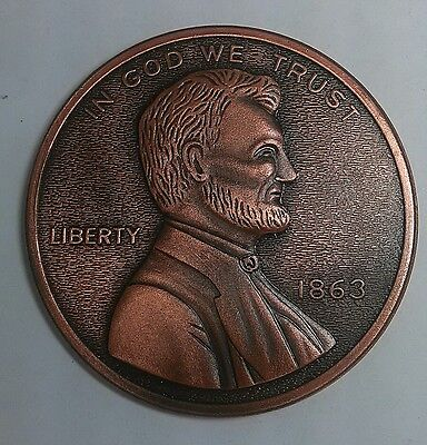 Lincoln Penny cent Coin OVERSIZED Novelty Metal 3 oz Gettysburg Address History