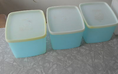 3 Vintage Tupperware Pastel Blue Freezer Storage Containers