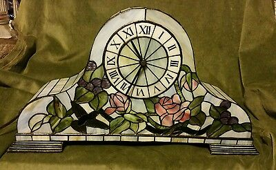 """Lighted Large 21"""" Stained Glass Hummingbird Mantle/Table Clock, Floral, Flowers"""