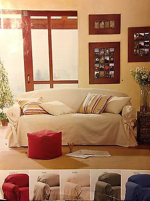 Pottery Barn Tie Arm Loose Fit Slipcover Small Sofa Cranberry Red Twill