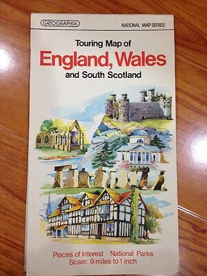 Vtg 1975 Geographia Touring Map Of England, Wales, South Scotland