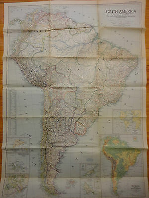 Rare VTG National Geographic map - South America (1950) - 1:8,000,000