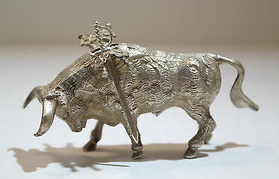 Mexican Sterling Silver Figure of a Corrida Bull 20th Century