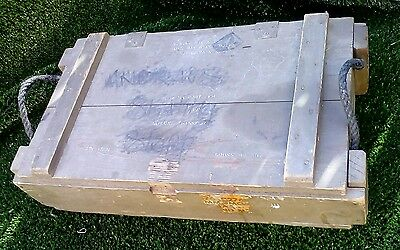 "VINTAGE WOODEN MILITARY CRATE EX ARMY AMMO BOX / CRATE, ""Railex"" Ex Malabar LBRR"