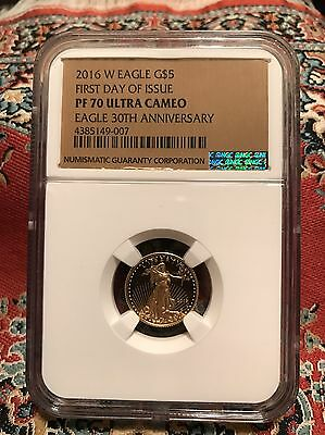 2016 W Gold American Eagle $5 Proof Coin NGC PF70 First Day of Issue Gold Label