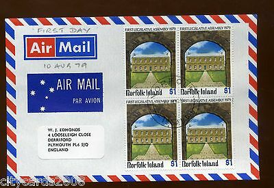 1979  Norfolk Is  £1 Legislative Assemby block of 4   AIRMAIL  FDC to UK