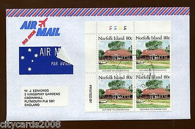 1989 Norfolk Island  80c Old Shop Definitive cylinder block of 4  AIRMAIL Cover
