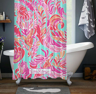 "Best New Lilly Pulitzer Love Birds Spring Rare Custom Shower Curtain 60"" x 72"""
