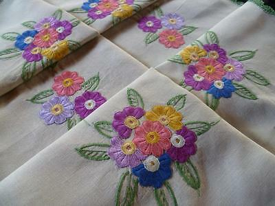 Colourful Flowers ~ Palest Green Linen ~ Vintage Hand Embroidered Tablecloth