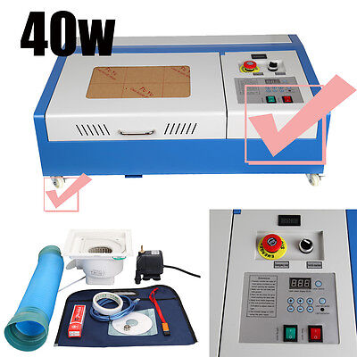 40W CO2 USB Port Laser Cutting Cutter Engraving Machine Engraver + 4 wheels