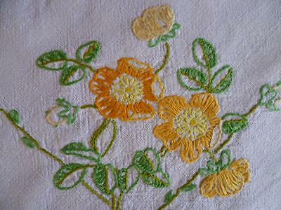 Golden Yellow Roses on Linen ~ Vintage Hand Embroidered Tablecloth
