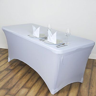 1 Pcs 6FT Spandex Lycra Stretch Tablecloth Rectangular Trestle Table Cover White