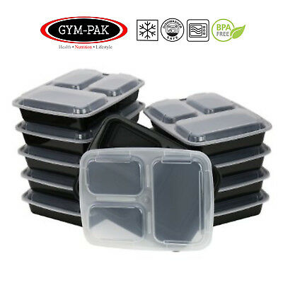 Meal prep 3 Compartment Food Containers x 10 GYM-PAK ( Strongest containers )