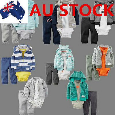 Clothes Carters Hoodie Baby Kids 3Pcs Set Lovely Cute Coat+Bodysuit+Pant