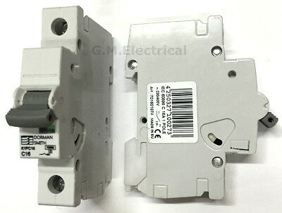 Dorman Smith 16 Amp Type C 16A Single Pole / Phase Mcb Circuit Breaker K1Pc16